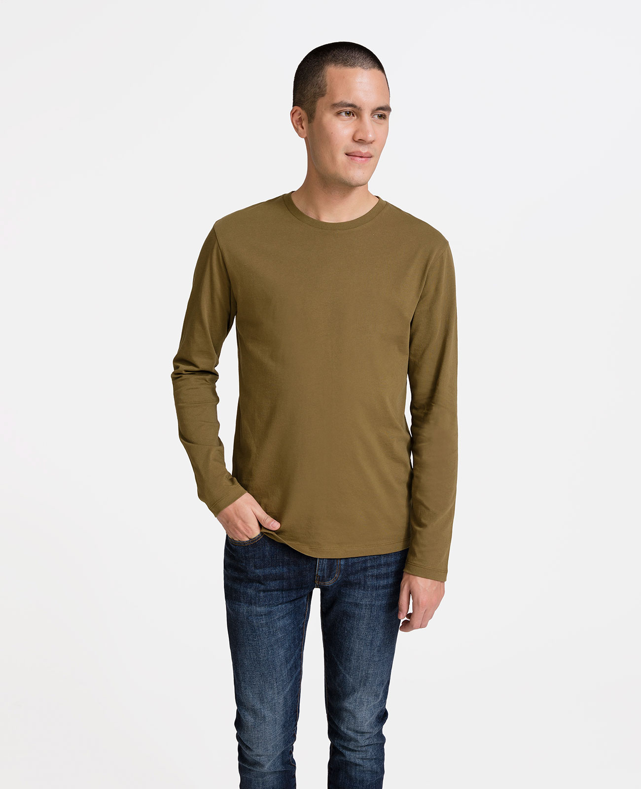 Men Pima Long Sleeve Crew Neck Tee