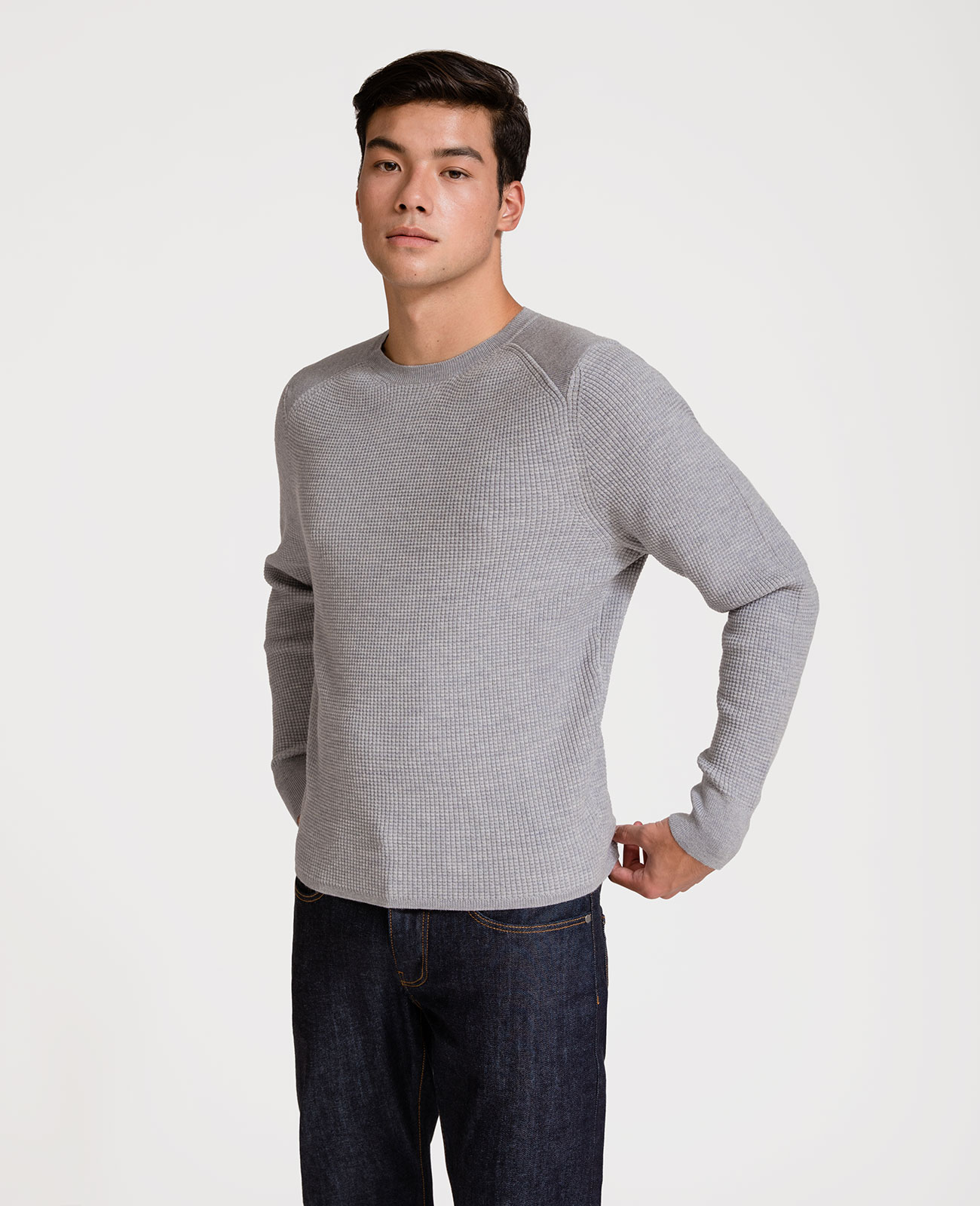Men Italian Merino Wool Army Sweater