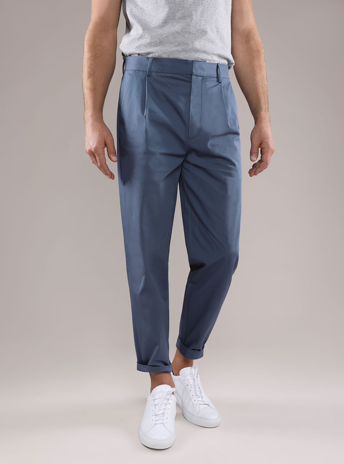 Mens Twill Cotton Pleated Pants