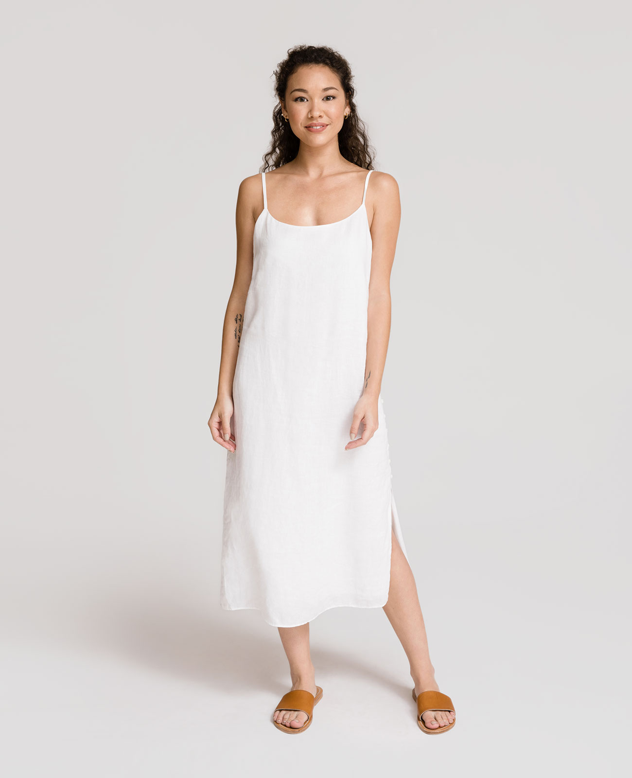 Womens Linen Side Button Dress