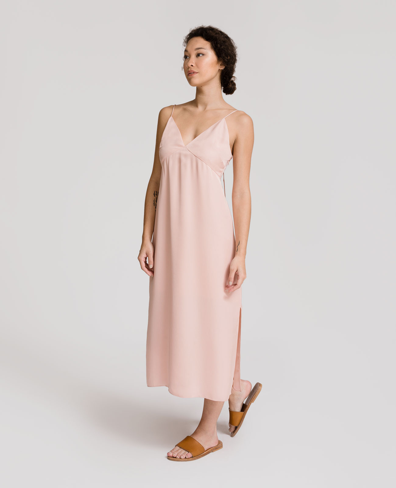 Womens Silk Panelled V-Neck Slip Dress