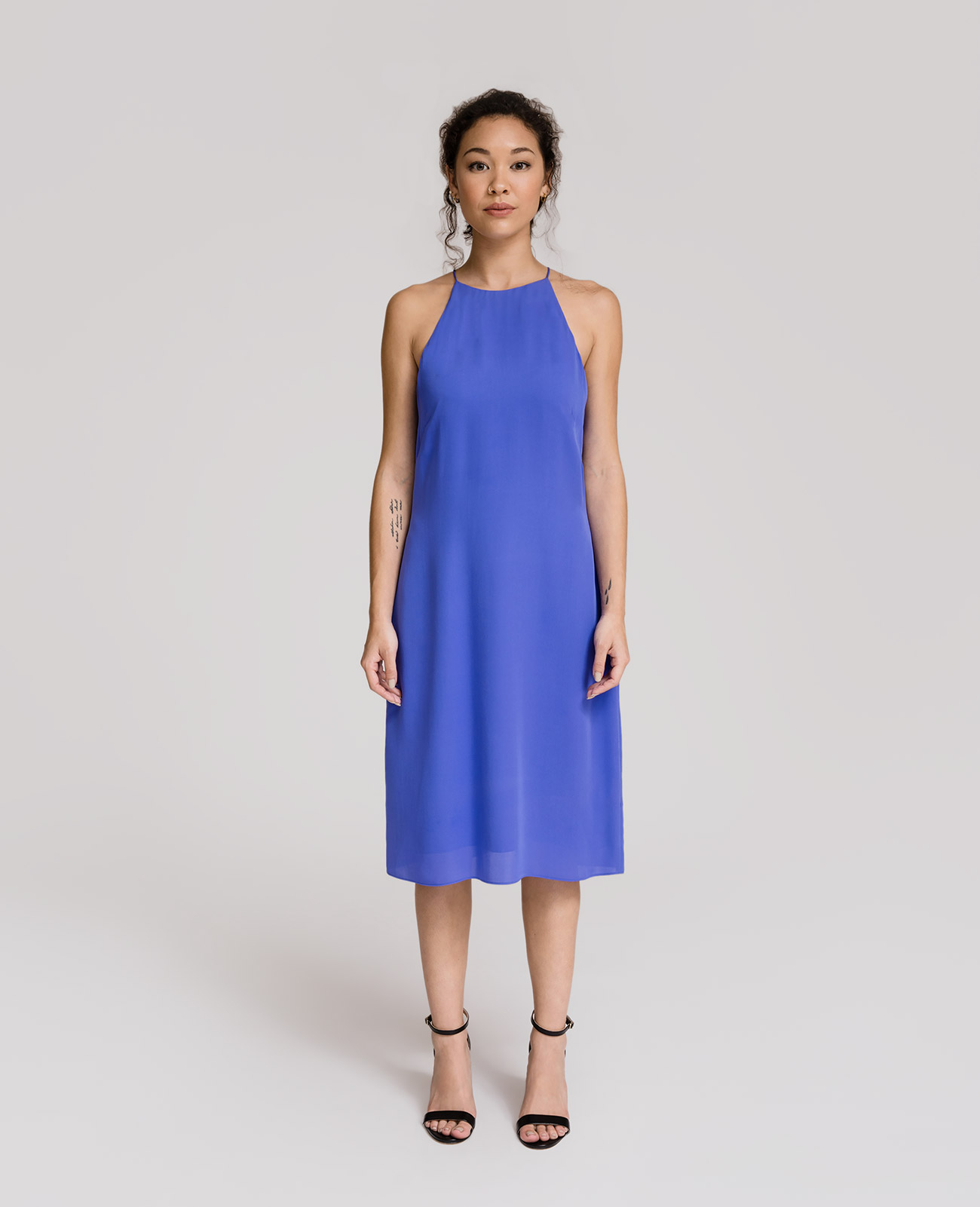 Womens Silk High Neck Dress