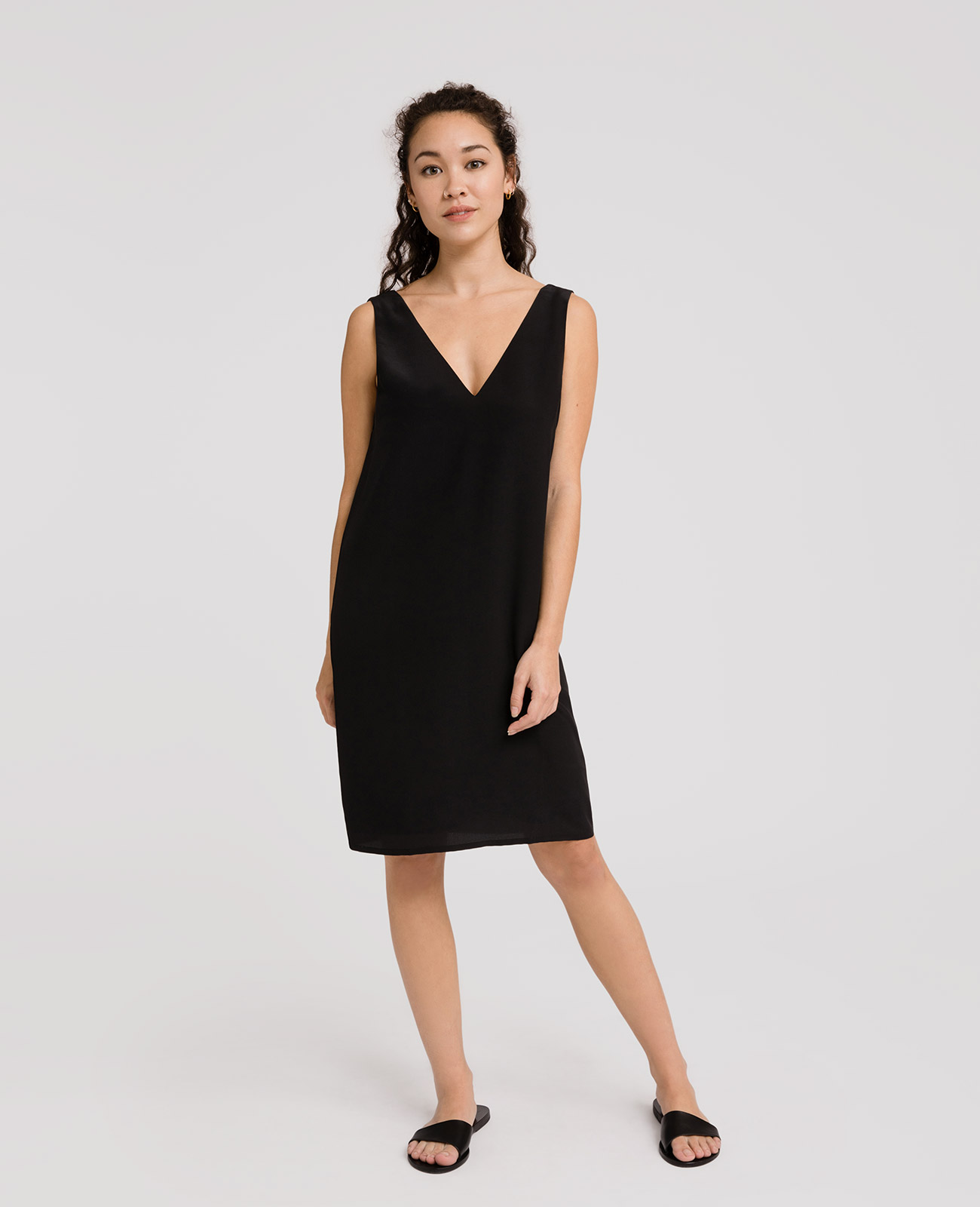 Womens Silk V-Neck Shift Dress