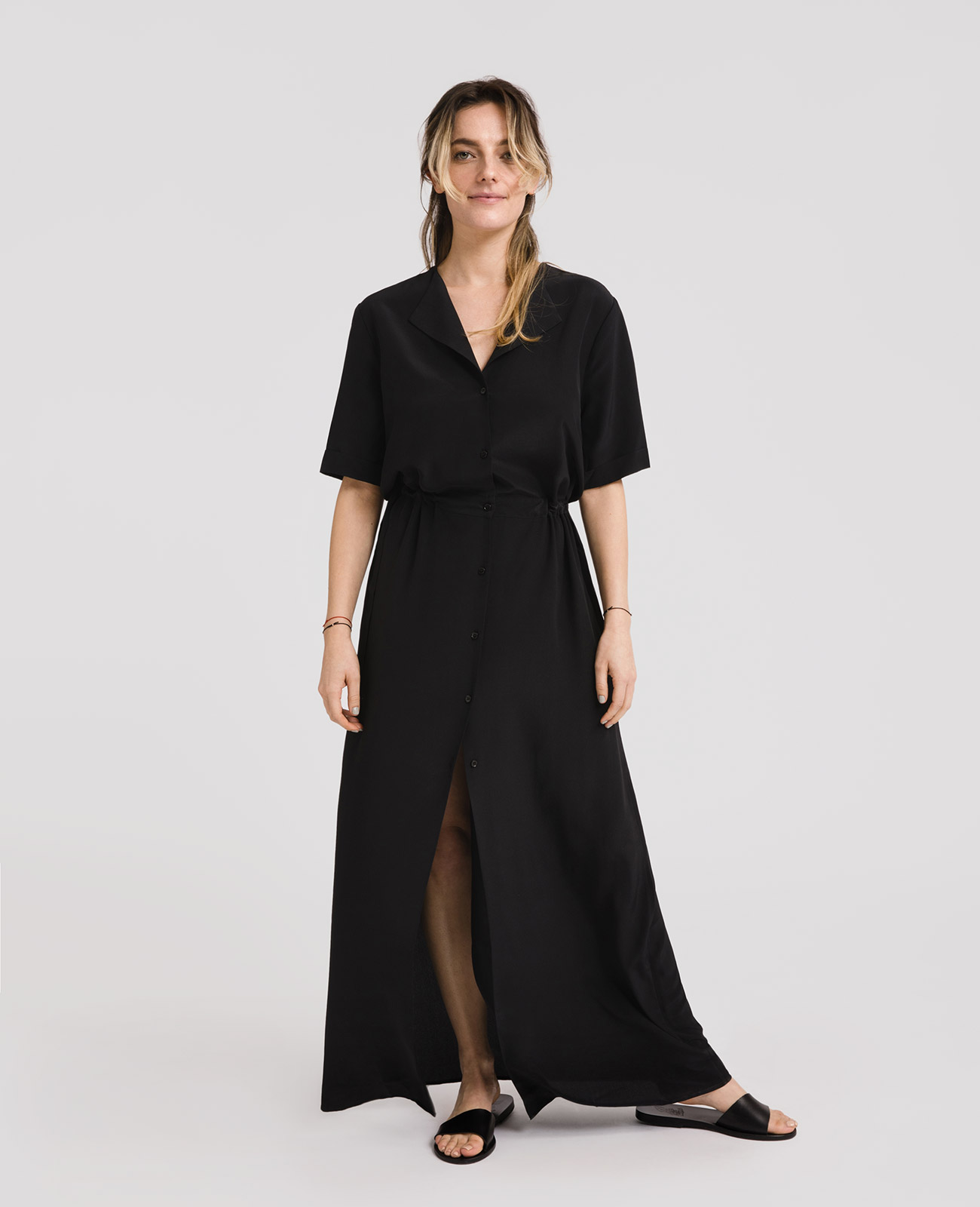 Womens Silk Button Front Maxi Dress