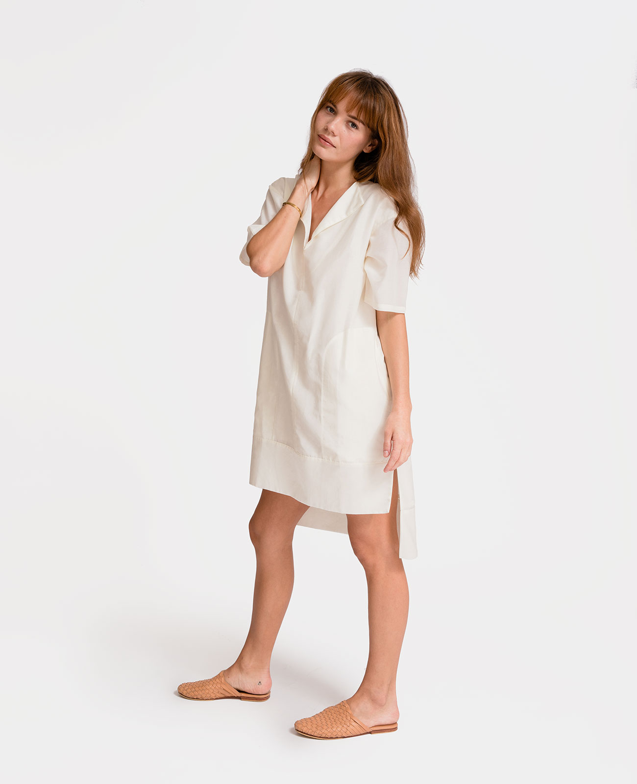 Womens Silk Cotton Split Neck Tunic