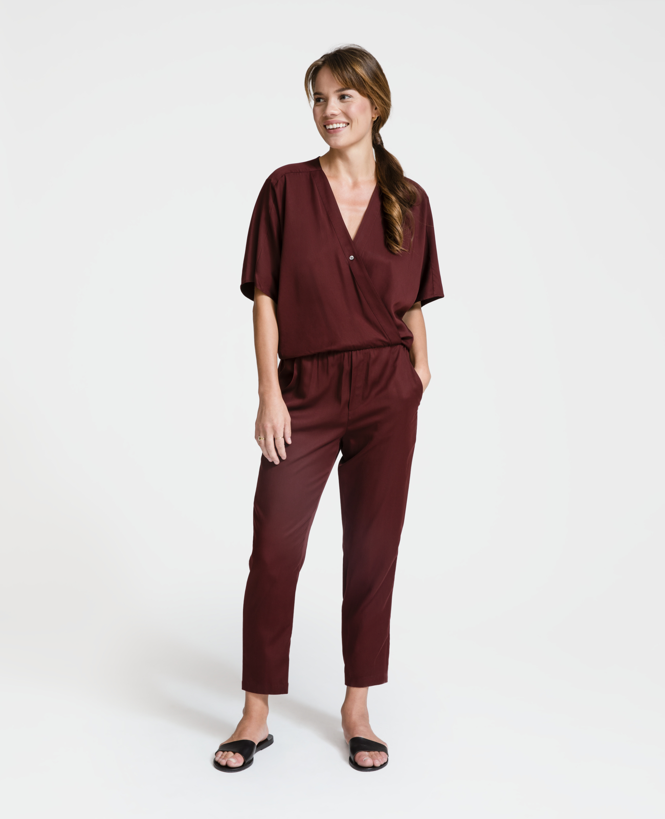 Women Tencel Wrap Jumpsuit
