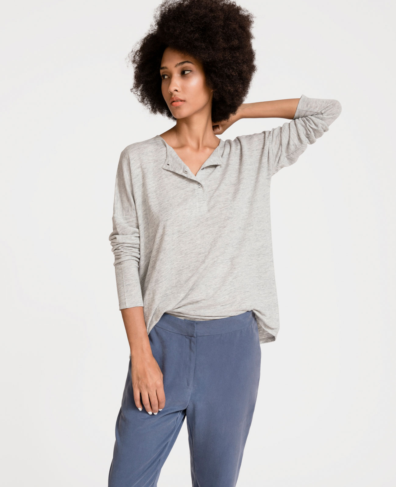 Women Linen Jersey Long Sleeve Henley