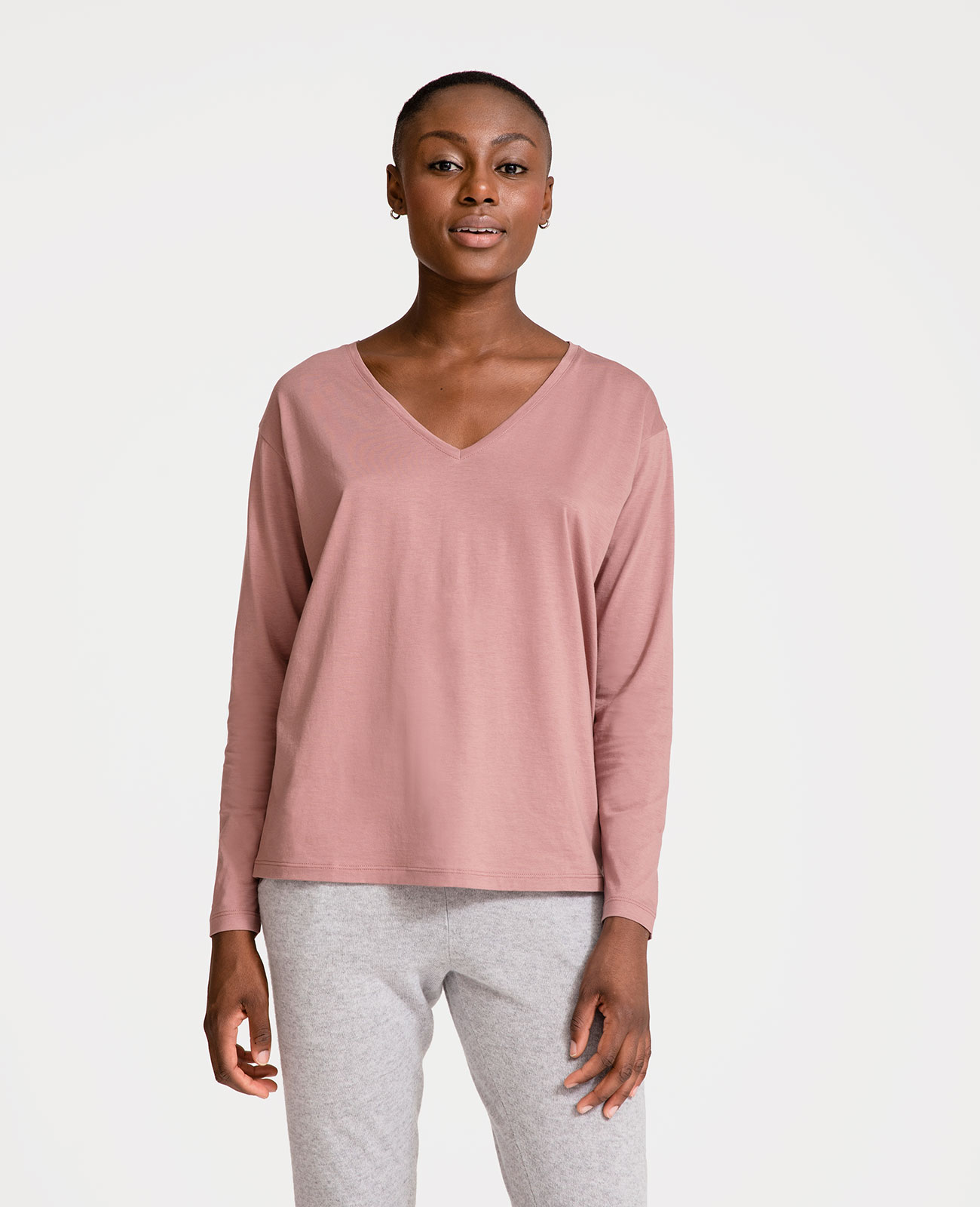 Peruvian Pima Cotton Long Sleeve V-Neck Tee