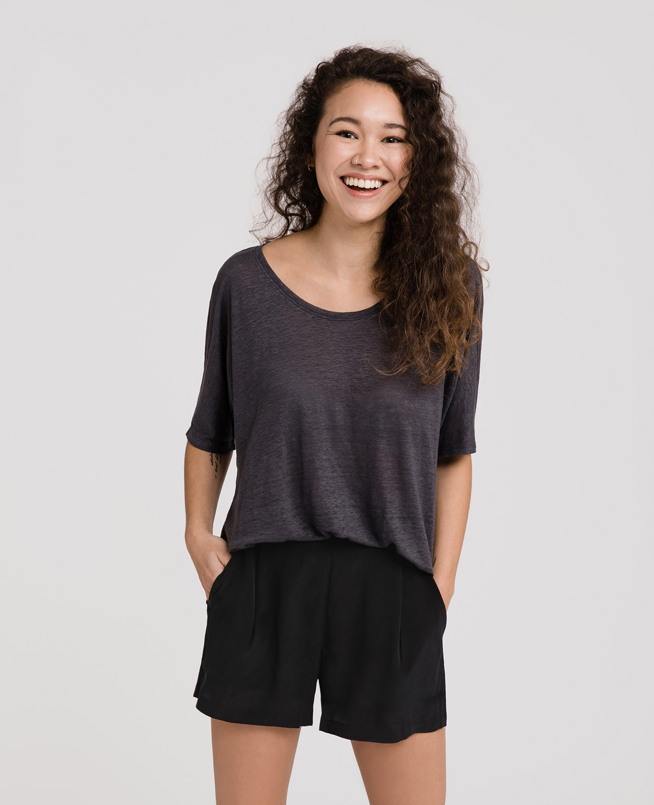 Womens Linen Jersey Scoop Neck Tee