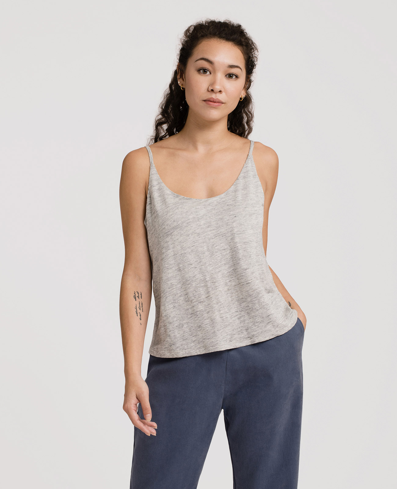 Womens Linen Jersey Scoop Neck Camisole