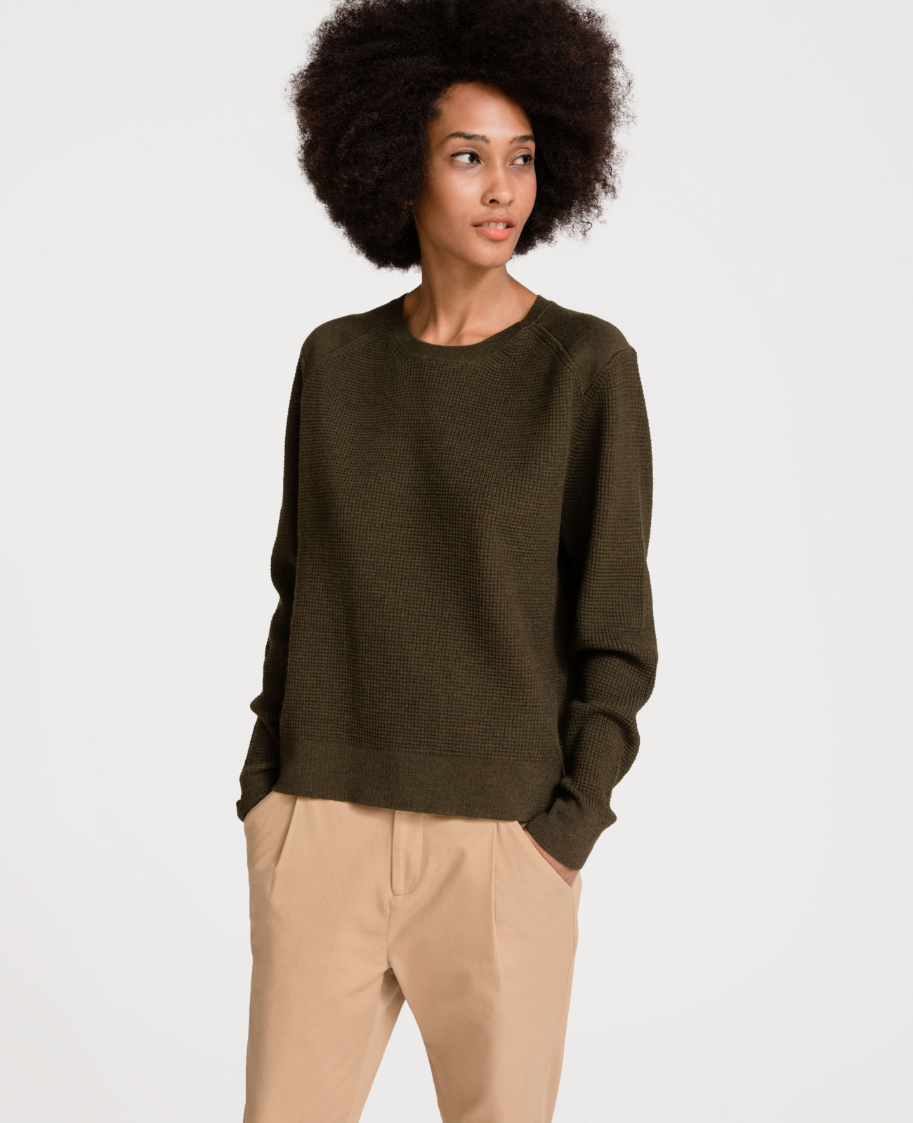 Women Italian Merino Wool Textured Crew Neck Sweater