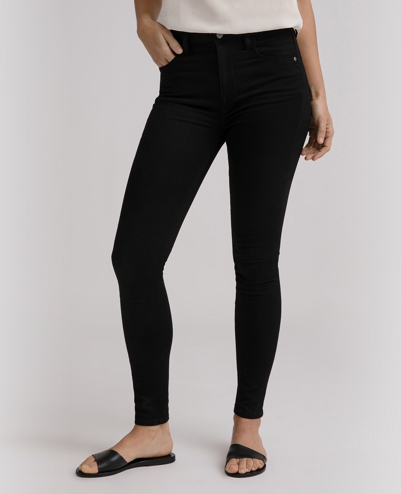 Women's Flex Denim Black Mid-Rise Skinny Jeans