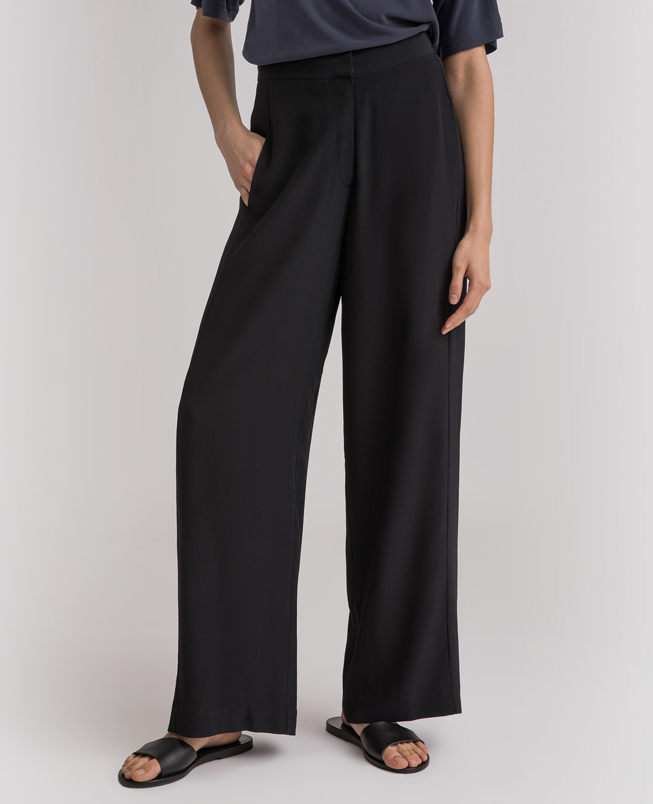 Womens Silk Wide Leg Racer Pants