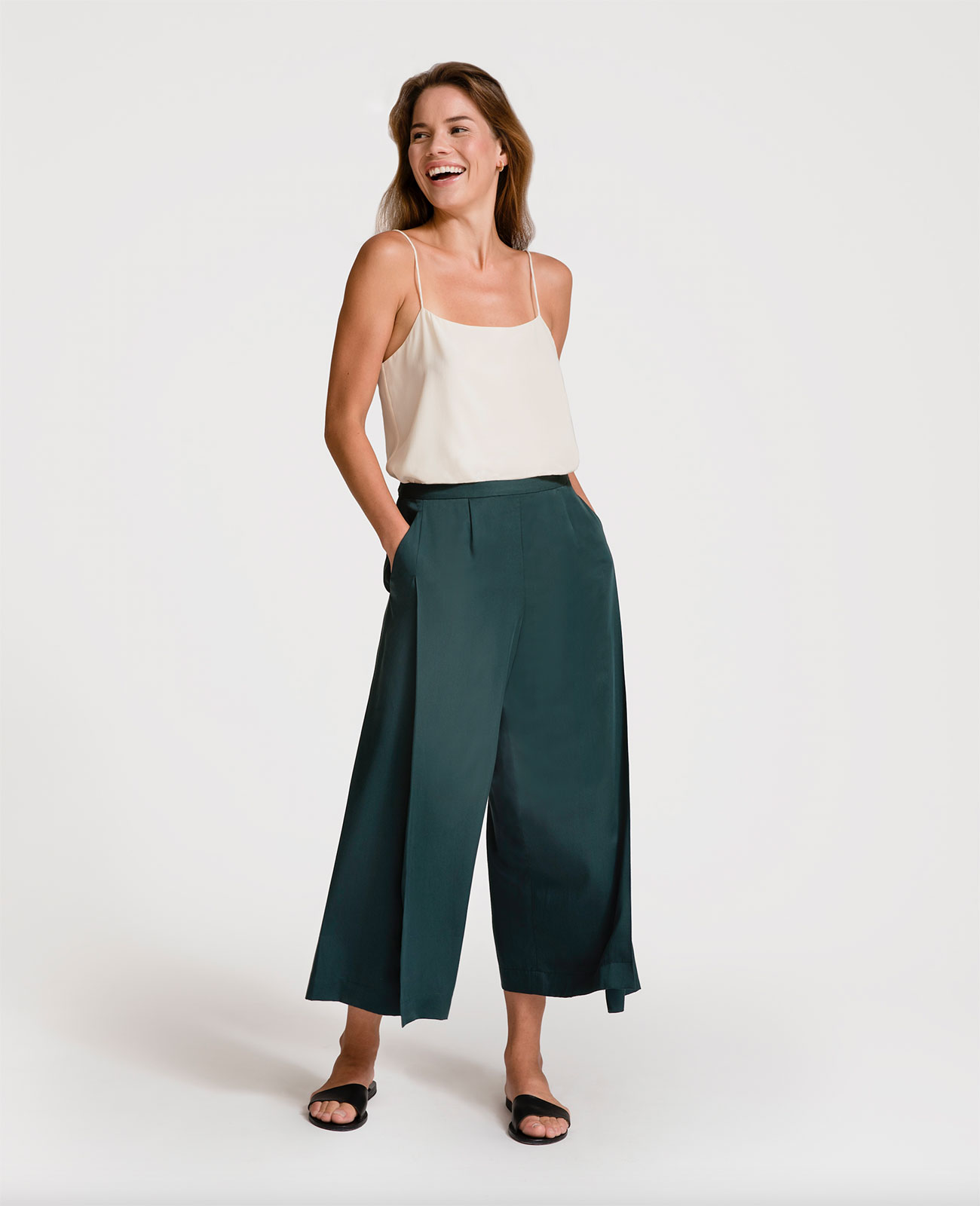 Women Tencel Split Front Culotte