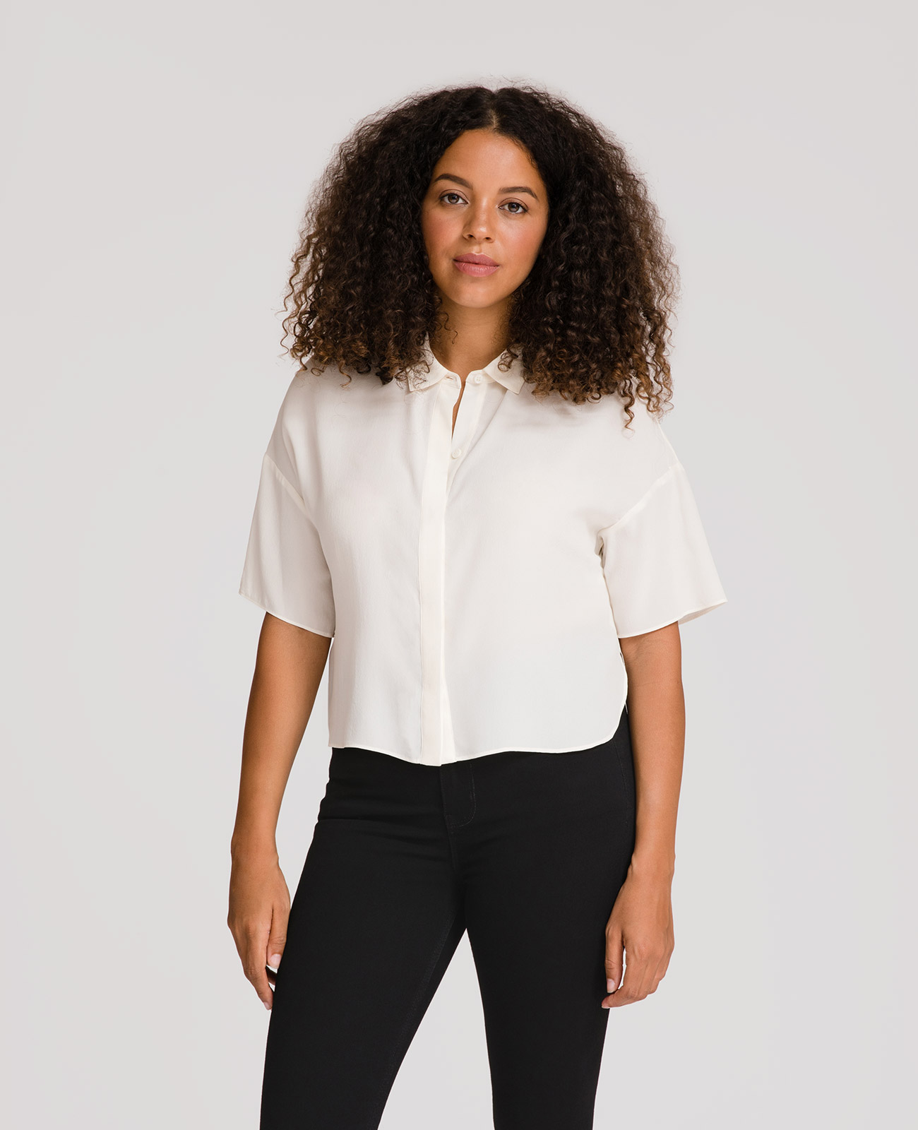 Womens Silk Boxy Short Sleeve Shirt