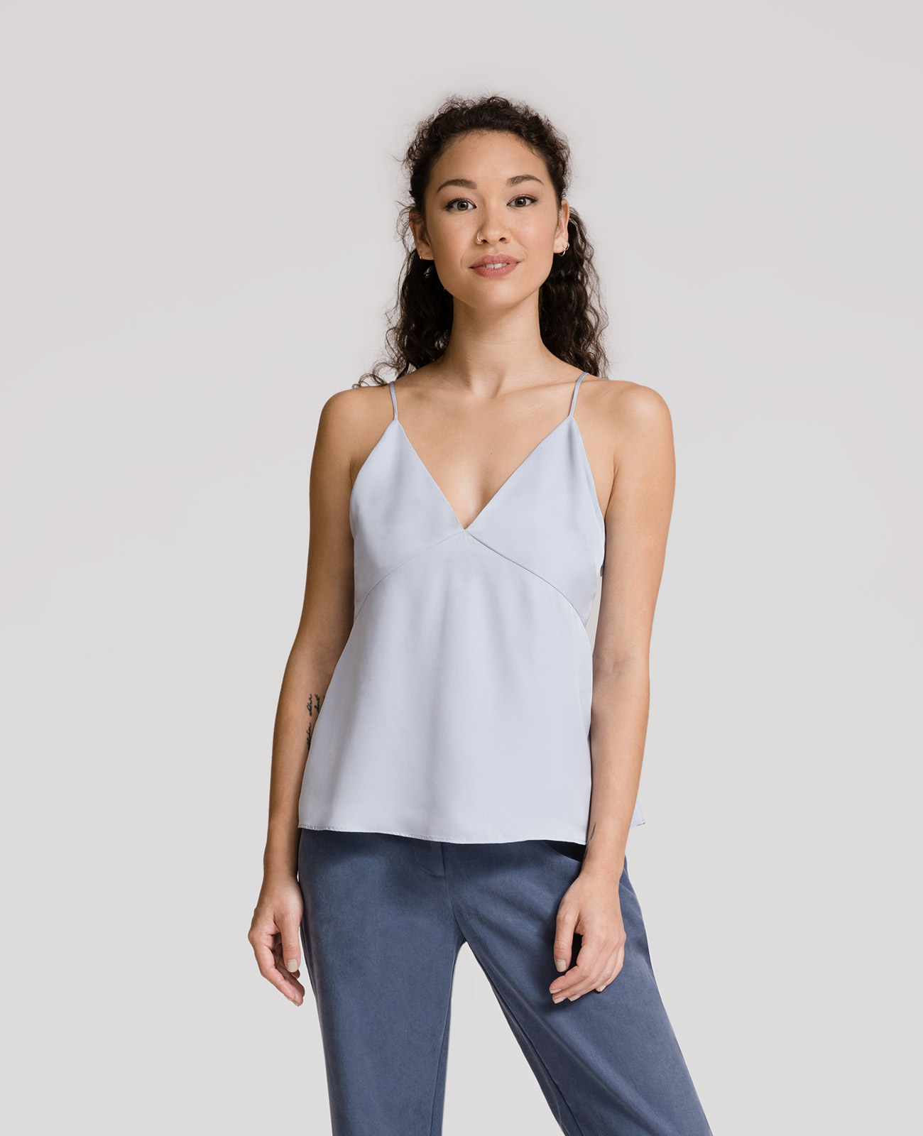 Womens Silk Panelled V-neck Camisole