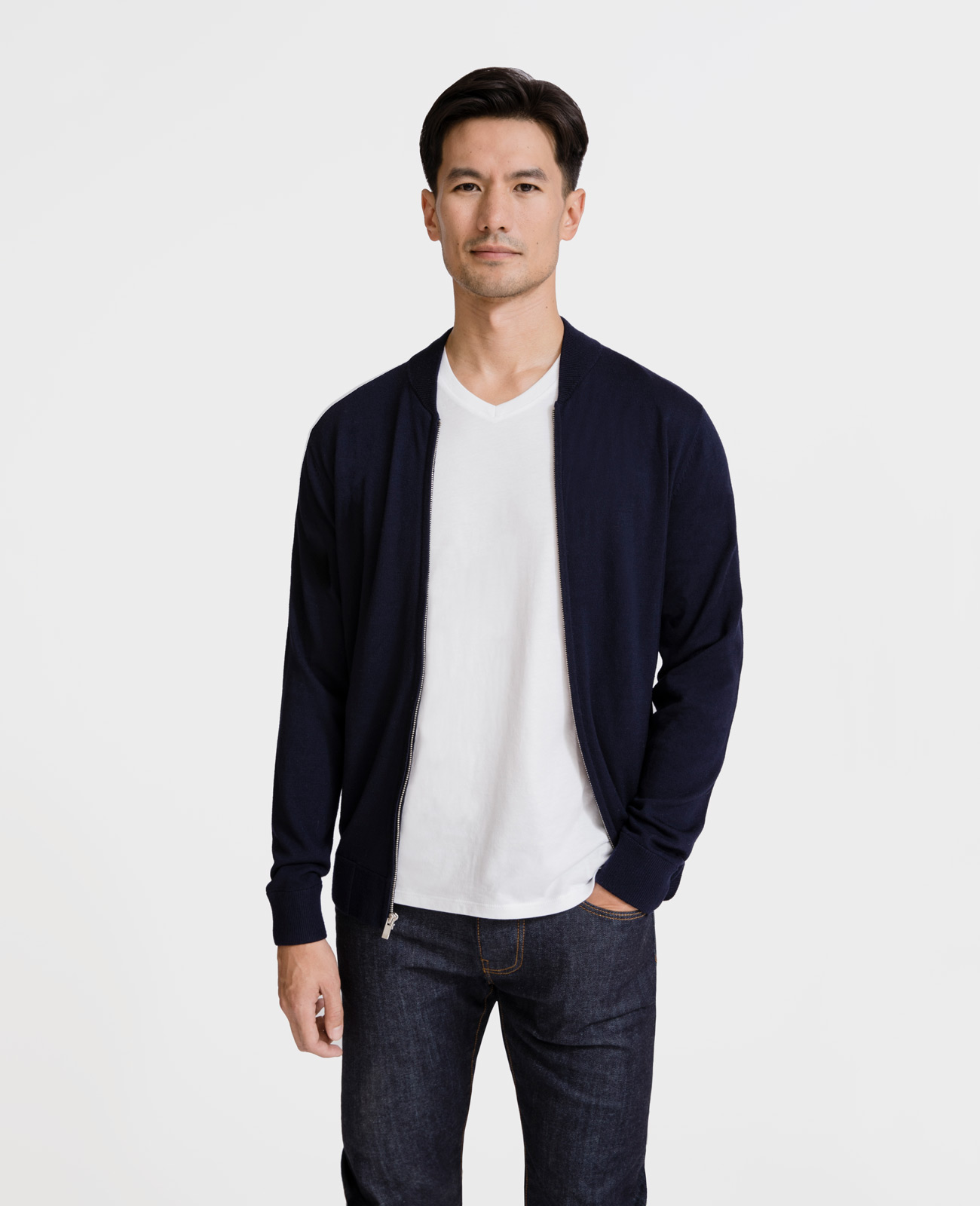 Men Italian Merino Wool Bomber