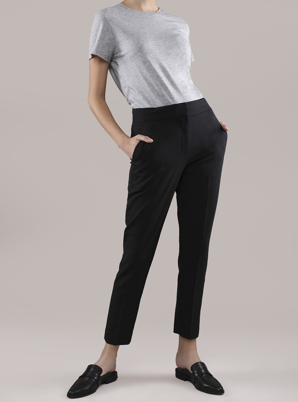 Womens Worsted Wool Cigarette Pants