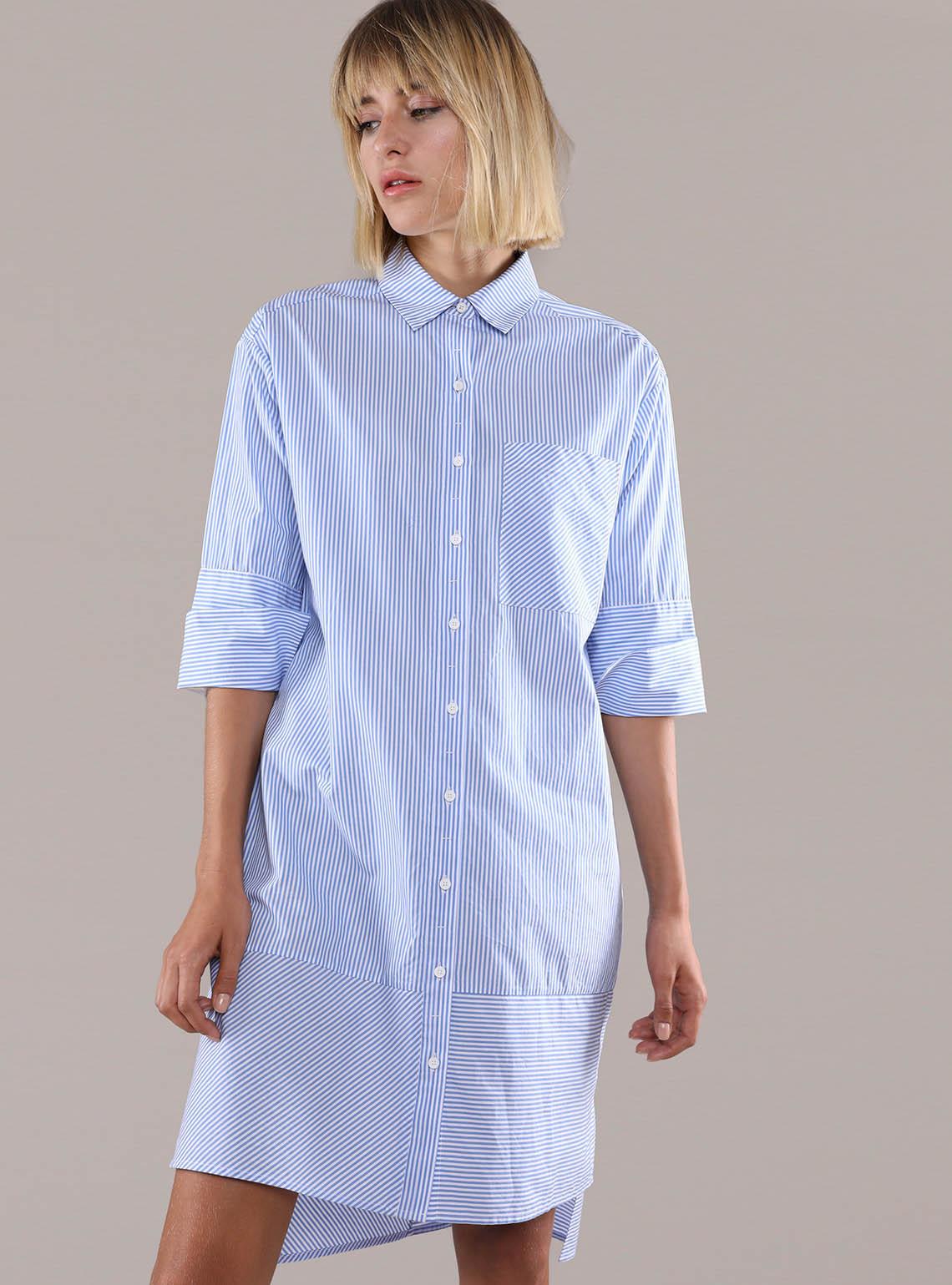 Women's Poplin Drop Shoulder Shirt Dress