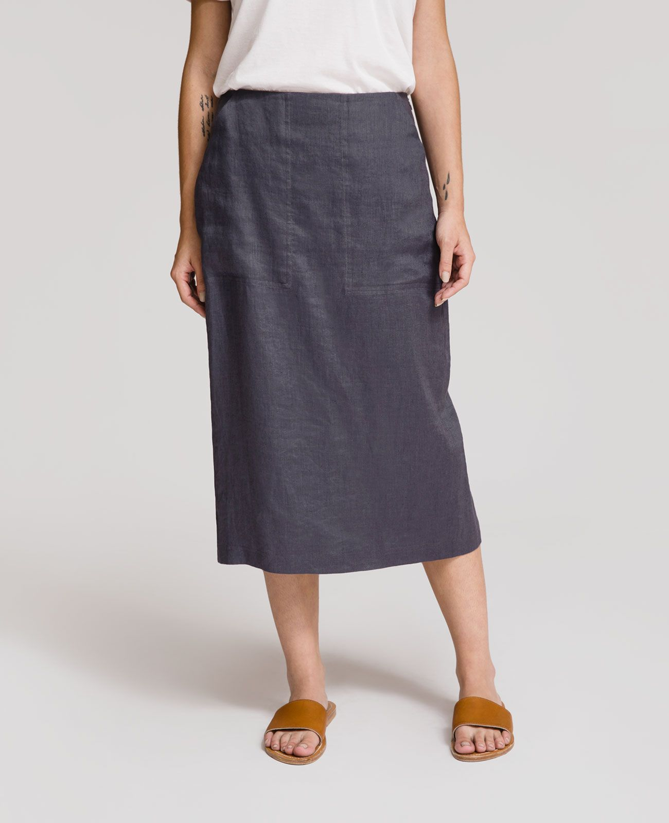 d87711d07302d French Linen Pencil Skirt | Grana