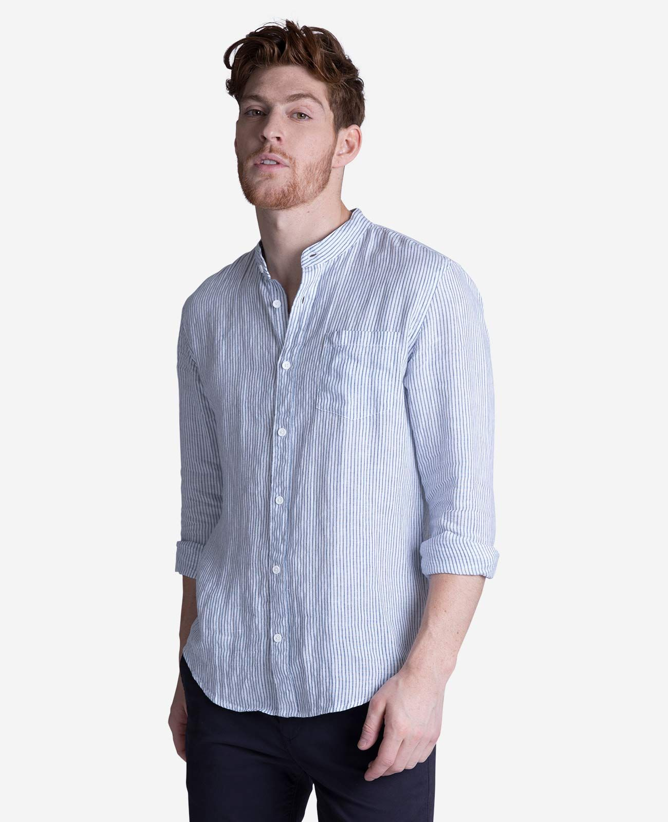 Mens White Linen Collarless Shirts Chad Crowley Productions