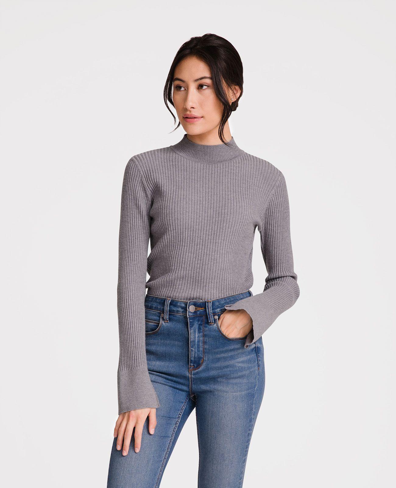 e0702e6e735352 Italian Merino Wool Rib Mock Neck Sweater