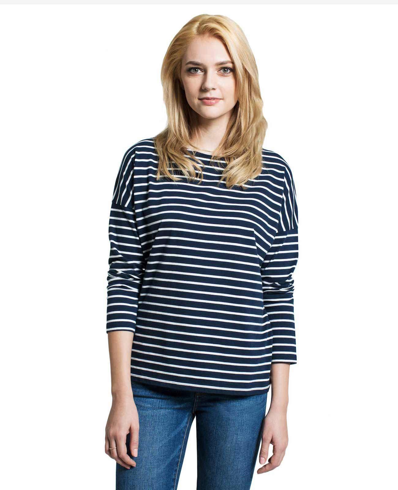 1e9c456e5ce7 Women's Pima Stripe Oversized Long Sleeve Tee | Grana