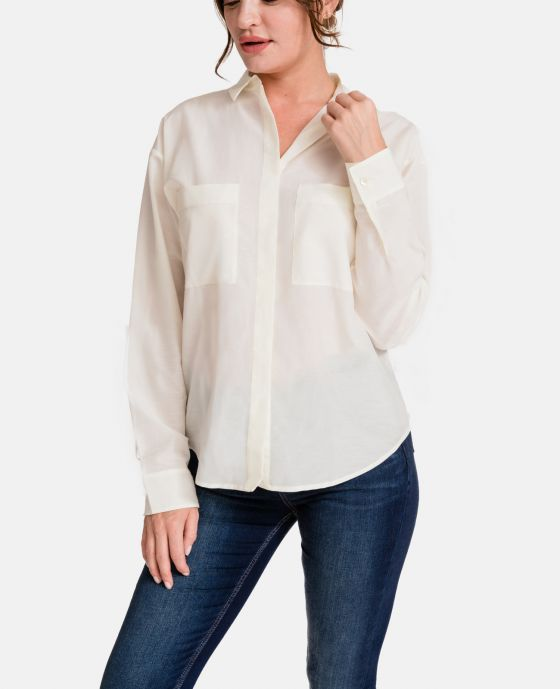 93039c5ddd2a01 Model wearing Silk Cotton Boyfriend Shirt Model wearing Silk Cotton  Boyfriend Shirt
